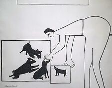 ELEANOR HAAS 1919-2001 NEW MEXICO MODERNIST ABSTRACT DRAWING FIGURE DOGS STUDY