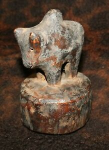 """A Charming Antique Wood Carving of Nandi, Mount of Shiva 4""""h x 2 1/2""""d, - Nepal"""