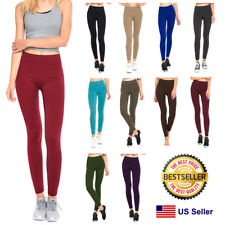 Womens Fleece Lined Leggings Warm Winter Thick Solid Colors Regular & Plus Size