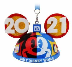 Mickey Mouse Walt Disney World 2021 Ear Hat Christmas Holiday Ornament