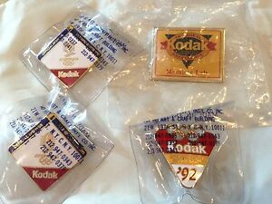 1992 USA Barcelona OLYMPIC Games Kodak Pin Set of 4 Large Pin Small