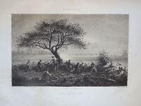 Edmond HÉDOUIN (1820-1889) EAU FORTE ORIGINALE CHASSE HOMME HUNT CAMPAGNE 1850