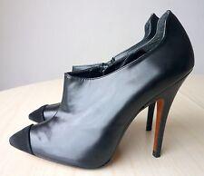 NEUVES Bottines Low Boots à Talon Cuir Noir Chaussures Femme 41 ZARA COLLECTION