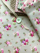 100% Cotton Fabric Floral Flowers Ditsy Rose Vintage Shabby Chic Green Pink