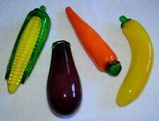 Glass Fruits Vegetables Decor Vintage Murano Style Banana Carrot Corn Eggplant