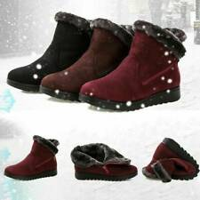 Ladies Winter Warmer Fur Lined Snow Ankle Boots Wedge Slip On Flat Shoes Size