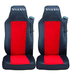 Set of 2 Seat Covers Black Red for VOLVO FH-12 FH-16 FL FM Truck Tailored Lorry