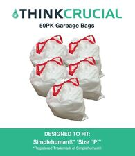 """Think Crucial 50PK Durable Garbage Bags Fit Simplehuman® 'size """"P""""', 60L / 13-16"""