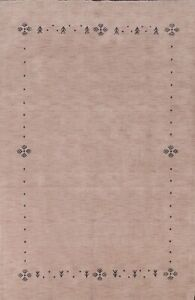 Contemporary Bordered Gabbeh Oriental Area Rug Wool Hand-knotted 6'x9' Carpet