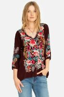 Johnny Was EMMALINE Embroidered Tunic Blouse Merlot Size L ~NWT