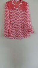 Size M 7-9  No Boundaries Sheer Peach Zig Zag Blouse With Crochet Back