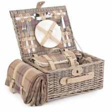 More details for lavender tartan 2 person picnic wicker hamper basket garden food party gift