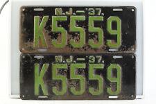 Vintage 1937 New Jersey License Plate Original Matched Pair #K5559 (V3893)