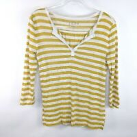 Ann Taylor LOFT 100% Linen Striped V-Neck 3/4 Sleeve Yellow White Blouse Size S
