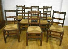 Antique vintage straw seat carved oak farmhouse dining chairs x 8