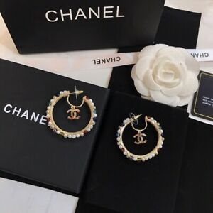 Chanel Golden CC Logo Hoop Earrings-New in Box