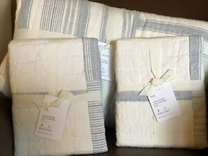 POTTERY BARN Hawthorn Patchwork Striped KING Quilt & 2 KING Shams NEW - BLUE