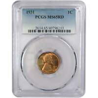 1931 Lincoln Wheat Cent MS 65 RD PCGS Bronze Penny 1c US Coin Collectible