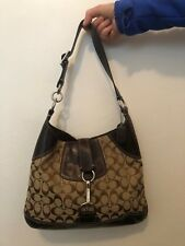 Coach Signature No. E06K-10243 Brown Leather & Material Shoulder Hobo Bag