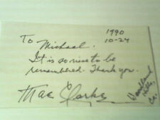 """MAE CLARKE, Vintage, Autographed 3""""X5""""  INDEX CARD, OCT. 27, 1990  with COA!!!"""