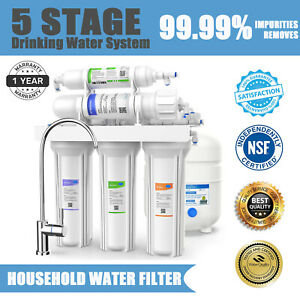 100GPD 5 Stage Under Sink Reverse Osmosis System Drinking Water Filter Purifier