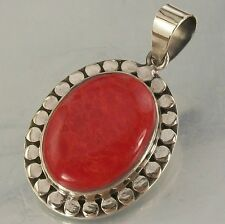 925 STERLING SILVER and red SPONGE CORAL oval CHARM PENDANT oxidised 17mm x 21mm
