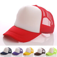 New Unisex Trucker Foam Cap Mesh Snapback Baseball Hat Plain Visor Adjustable