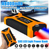 12V 88000mAh Car Jump Starter LED 4 USB Charger Pack Booster Power Bank