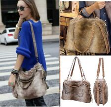 Faux Furry Fur Hobo Tote Large Shoulder Bag Big Handbag Cross Body Messenger C0