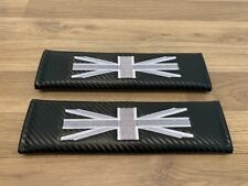 2X Seat Belt Pads Carbon Gift GB UK Flag England Union Jack Anglia Flags British