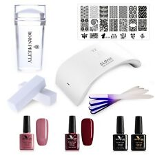Deluxe LED Nail Gel Polish Starter KIT Set, 24W LED Lamp, Soak Off Gel+ Stamp