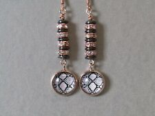Snake Cabochon & Hematite Saucers with Diamante's Rose Gold Plated Earrings Nice