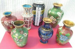 ANTIQUE / VINTAGE 6 SMALL CHINESE CLOISONNE VASES (RARE) LOT A