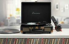 Zennox Black Retro Portable Briefcase Vinyl Turntable Record Player Music Deck