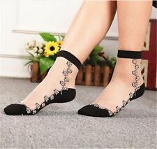 New Women Fashion Crystal Sheer Thin Ice Silk Black Lace Ankle Flower Rose Socks