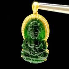 Certify China Jade Buddha Pendant Carved Gold Diamond Kwan-Yin Amulet Burmese
