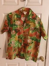 Hawaiian aloha Men's M Dress Shirt Tiki Made In Hawaii