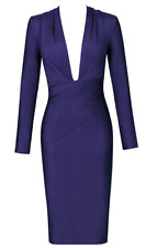Herve Leger Long Sleeve Bandage Dress Draped Deep Plunged Blue Party A953 *M
