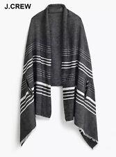 New J.CREW cape scarf black ivory white cotton muffler grey wrap striped fringe