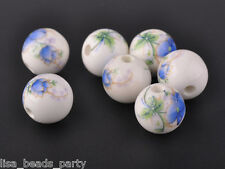 10pcs12mm Round Porcelain Ceramic Loose Spacer Big Hole Beads Charms Blue Peony