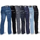Enzo Mens Designer Straight Fit Regular Leg Denim Jeans All Big King Waist Sizes