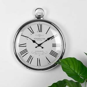 Pocket Silver Wall Clock Numerals Wall Clock Home Bedroom Kitchen Clocks Decor
