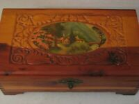 Vintage Wood Jewelry Trinket Chest Box w Mirror Scene on Lid Carved Joined MCM