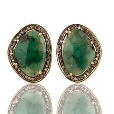 Emerald Pave Diamond 14K Solid Gold 925 Sterling Silver Cufflinks Jewelry