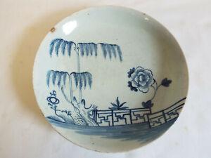 Antique late Georgian English porcelain blue painted dish,Vauxhall??