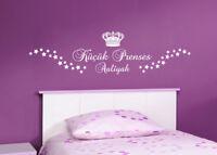 Kücük Prenses/Kleine Prinzessin+Name -Kinderzimmer Baby Wandaufkleber WandTattoo