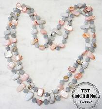 Grigio Rosa Collana Lunga Madreperla,perle,pietre Dure,cristalli da donna
