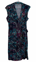Jacqui E Womens Black Floral Short Sleeve Wrap Dress Size M