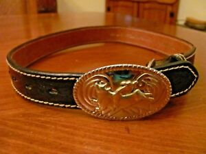 NOCONA BELT CO.USA BLACK TOOLED LEATHER SZ 22 CHILDS BELT BUCKING BRONCO BUCKLE