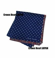 Paul Smith Thin Handkerchief Pocket Square Navy Dot MultiStripe-Edge Japan-Made